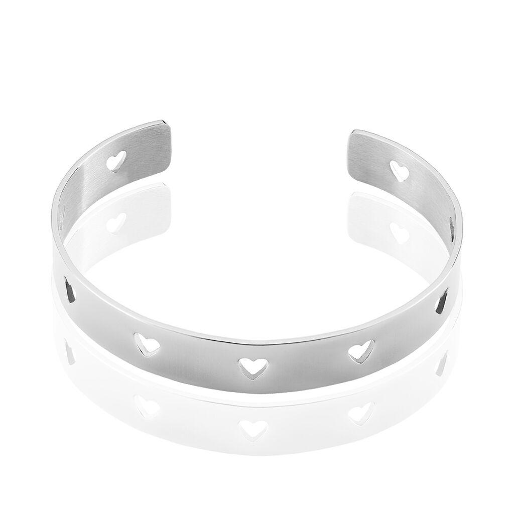 Bracelet Jonc Nola Argent Blanc - Bracelets Coeur Femme | Histoire d'Or