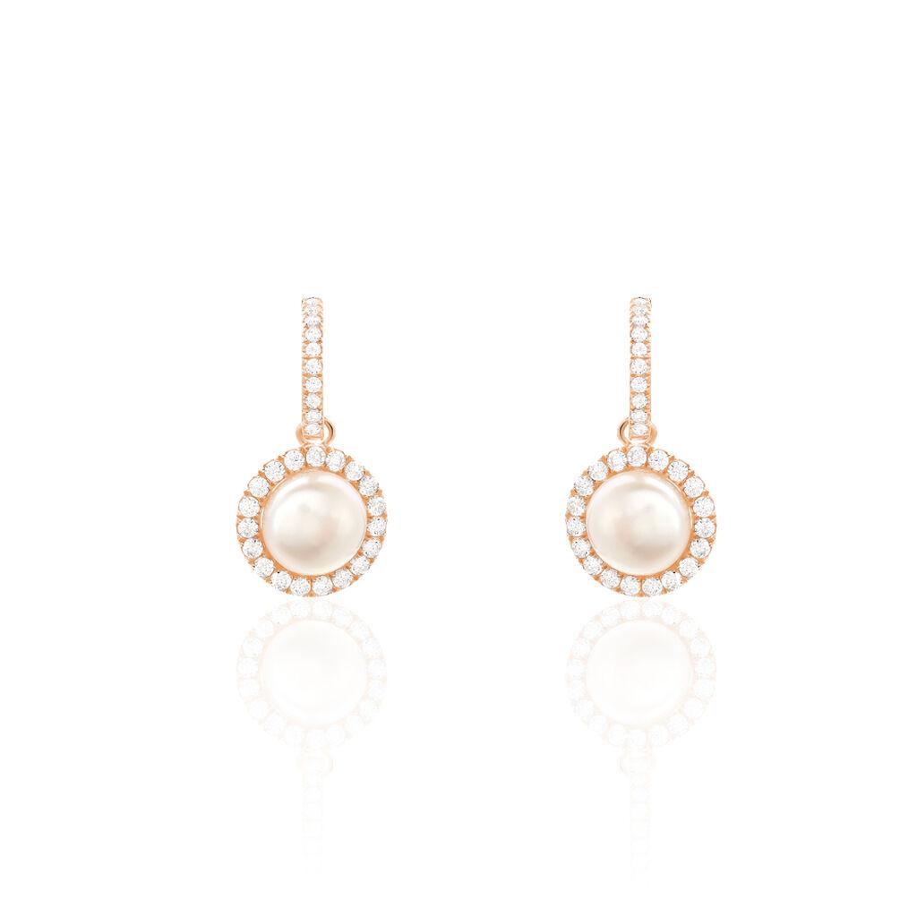 Boucles D'oreilles Pendantes Olivia Argent Rose Perle Culture Oxyde - Boucles d'oreilles fantaisie Femme | Histoire d'Or