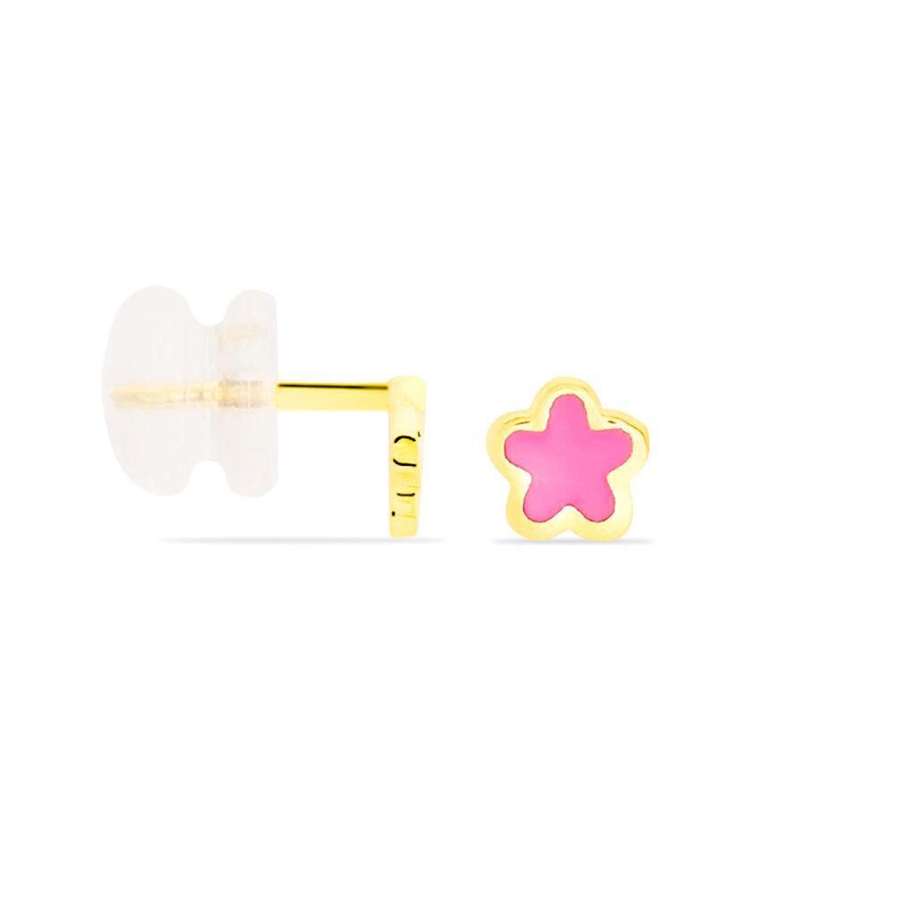 Boucles D'oreilles Puces Damia Fleur Or Jaune Nacre - Clous d'oreilles Enfant | Histoire d'Or