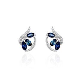 Boucles D'oreilles Puces Petale Or Blanc Saphir Et Diamant - Clous d'oreilles Femme   Histoire d'Or