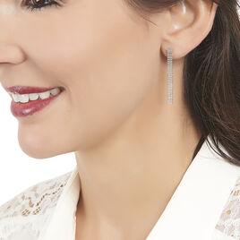 Boucles D'oreilles Pendantes Capucine Argent Blanc - Boucles d'oreilles fantaisie Femme   Histoire d'Or
