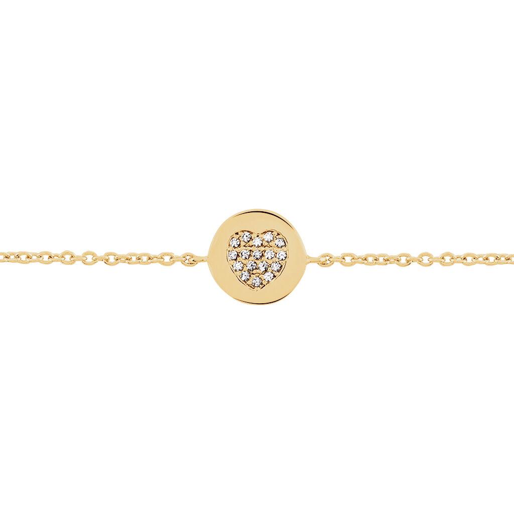 Bracelet Masanae Plaque Or Jaune Oxyde De Zirconium - Bracelets Coeur Femme | Histoire d'Or