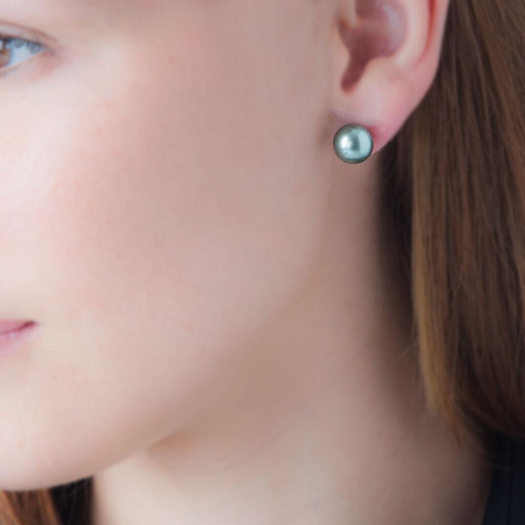 Boucles D'oreilles Puces Ersilie Or Jaune Perle De Culture De Tahiti - Clous d'oreilles Femme | Histoire d'Or