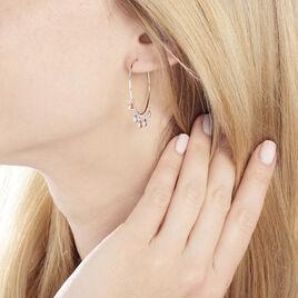 Créoles Tanaya Argent Blanc Verre - Boucles d'oreilles créoles Femme | Histoire d'Or