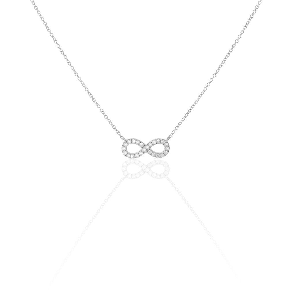 Collier Lou Argent Blanc Oxyde De Zirconium - Colliers Infini Femme   Histoire d'Or