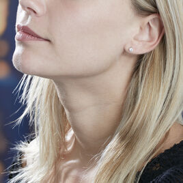 Boucles D'oreilles Or Blanc Puces Diamants Synthetique - Clous d'oreilles Femme | Histoire d'Or