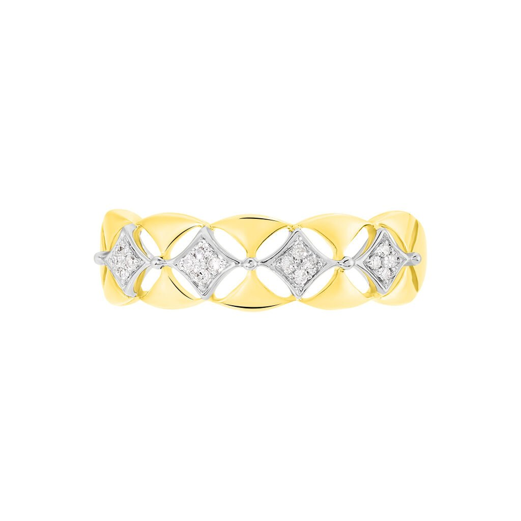 Bague Caterine Or Bicolore Diamant - Bagues avec pierre Femme   Histoire d'Or