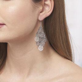 Boucles D'oreilles Pendantes Ismaelle Argent Blanc - Boucles d'oreilles pendantes Femme | Histoire d'Or