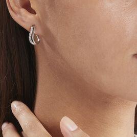 Créoles Hera Vrillees Fils Carres Or Blanc Strass - Boucles d'oreilles créoles Femme | Histoire d'Or