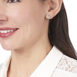 Boucles D'oreilles Puces Florie Argent Blanc Oxyde De Zirconium - Boucles d'oreilles fantaisie Femme   Histoire d'Or