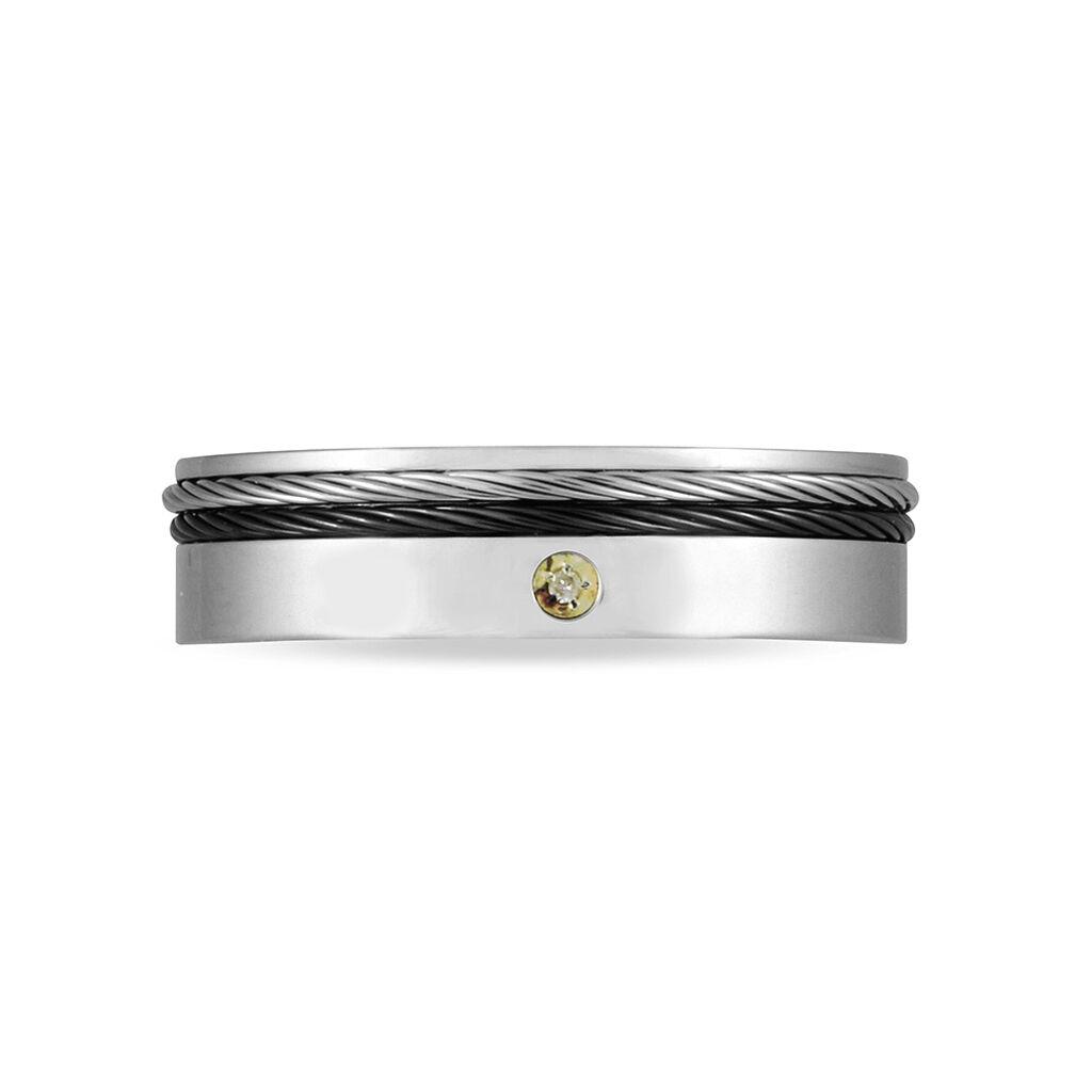 Bague Acier Cable Et Diamant - Bagues avec pierre Homme | Histoire d'Or