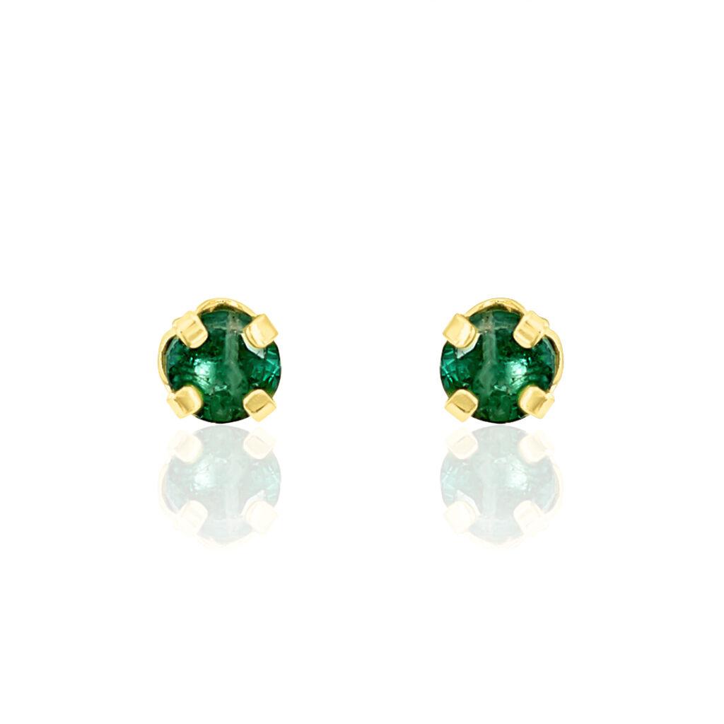 Boucles D'oreilles Puces Jardin Serti Griffe Or Jaune Emeraude - Clous d'oreilles Femme | Histoire d'Or