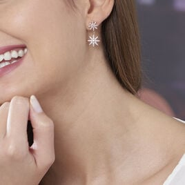 Boucles D'oreilles Pendantes Marcellina Plaque Or Oxyde De Zirconium - Boucles d'Oreilles Etoile Femme | Histoire d'Or