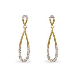 Boucles D'oreilles Pendantes Auceane Plaque Or Oxyde De Zirconium - Boucles d'oreilles pendantes Femme   Histoire d'Or