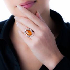 Bague Odile Argent Blanc Ambre - Bagues avec pierre Femme | Histoire d'Or