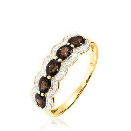 Bague Margaux Or Jaune Quartz Et Diamant - Bagues avec pierre Femme   Histoire d'Or