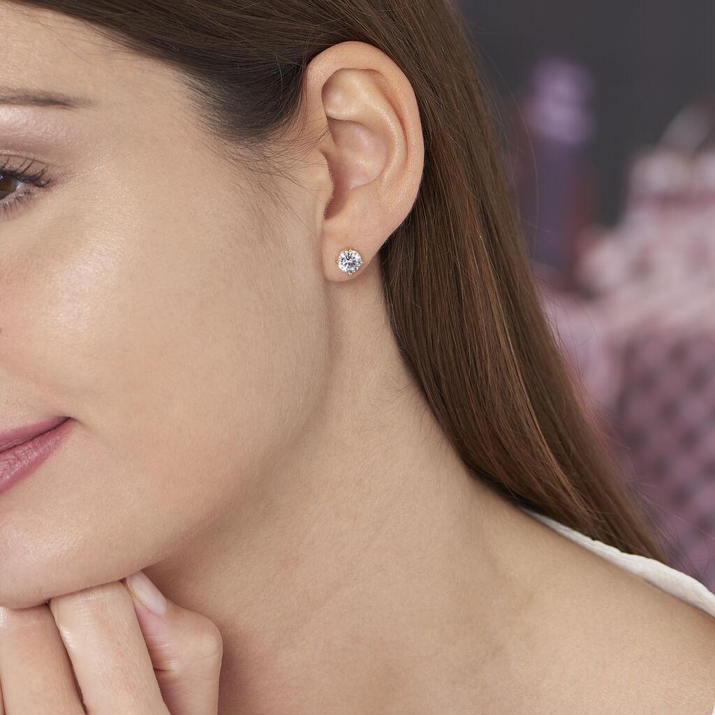 Boucles D'oreilles Puces Yoëlle Plaque Or Jaune Oxyde De Zirconium - Boucles d'oreilles fantaisie Femme   Histoire d'Or