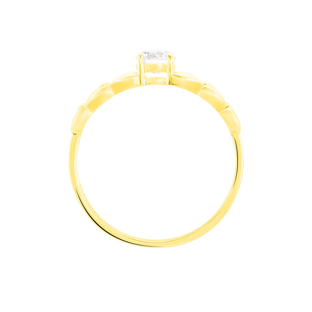 Bague Solitaire Alexine Or Jaune Oxyde De Zirconium - Bagues avec pierre Femme | Histoire d'Or