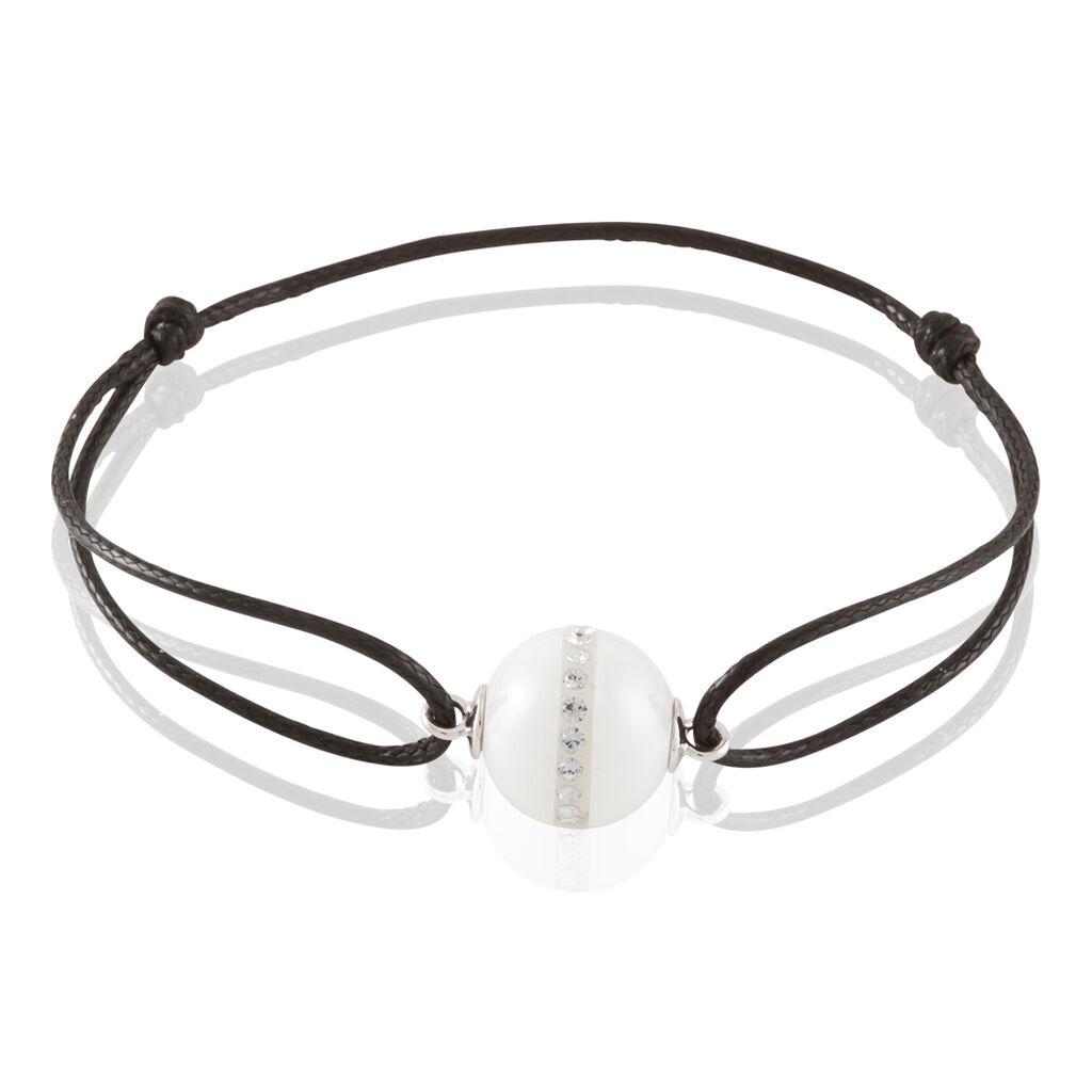 Bracelet Nina Cera Argent Blanc Céramique Et Strass - Bracelets cordon Femme   Histoire d'Or