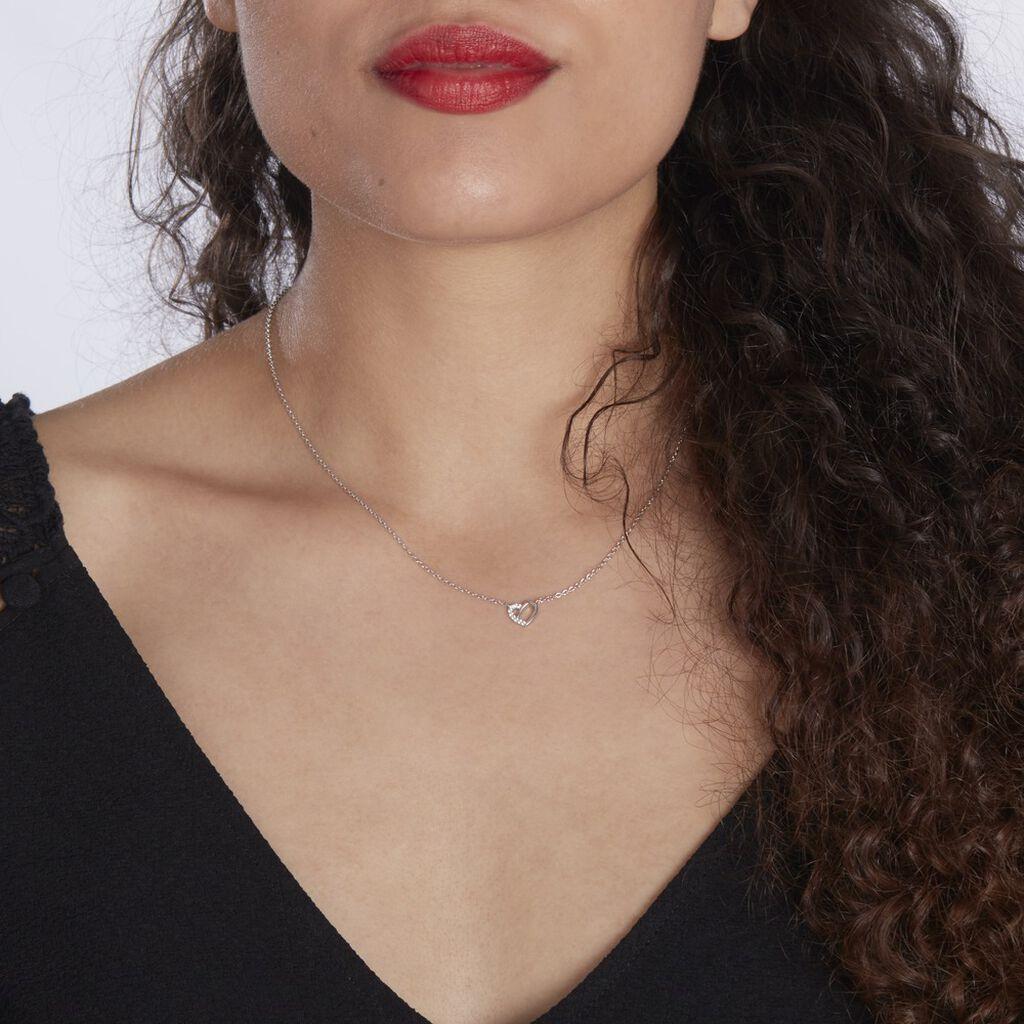 Collier Dorthea Argent Blanc Oxyde De Zirconium - Colliers Coeur Femme   Histoire d'Or