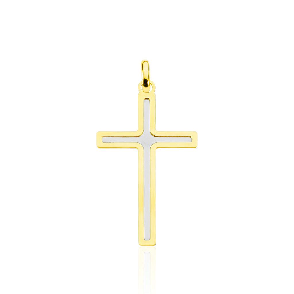 Pendentif Casey Croix Or Bicolore - Pendentifs Croix Famille | Histoire d'Or