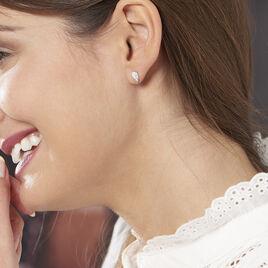 Boucles D'oreilles Puces Kayli Argent Blanc - Boucles d'oreilles fantaisie Femme | Histoire d'Or