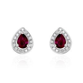 Boucles D'oreilles Puces Elheme Or Blanc Rubis Et Diamant - Clous d'oreilles Femme   Histoire d'Or