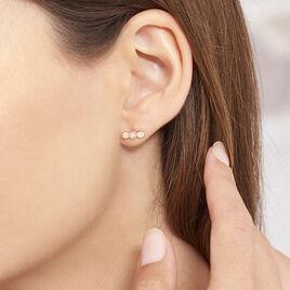 Boucles D'oreilles Puces Onaissa Argent Rose Oxyde De Zirconium - Boucles d'oreilles fantaisie Femme   Histoire d'Or
