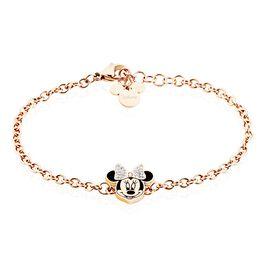 Bracelet Disney Acier Doré Rose Cristaux - Bracelets fantaisie Femme | Histoire d'Or