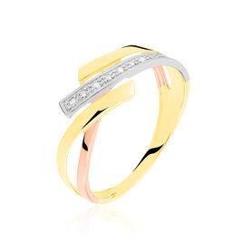 Bague Ainhoa Or Tricolore Diamant - Bagues avec pierre Femme | Histoire d'Or