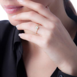 Bague Loriane Or Blanc Aigue Marine Et Oxyde De Zirconium - Bagues avec pierre Femme   Histoire d'Or