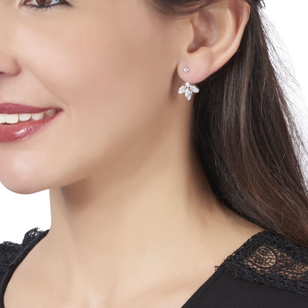 Boucles D'oreilles Pendantes Nadine Argent Blanc Oxyde De Zirconium - Boucles d'oreilles fantaisie Femme | Histoire d'Or