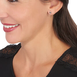 Boucles D'oreilles Pendantes Enid Or Blanc Diamant - Clous d'oreilles Femme | Histoire d'Or