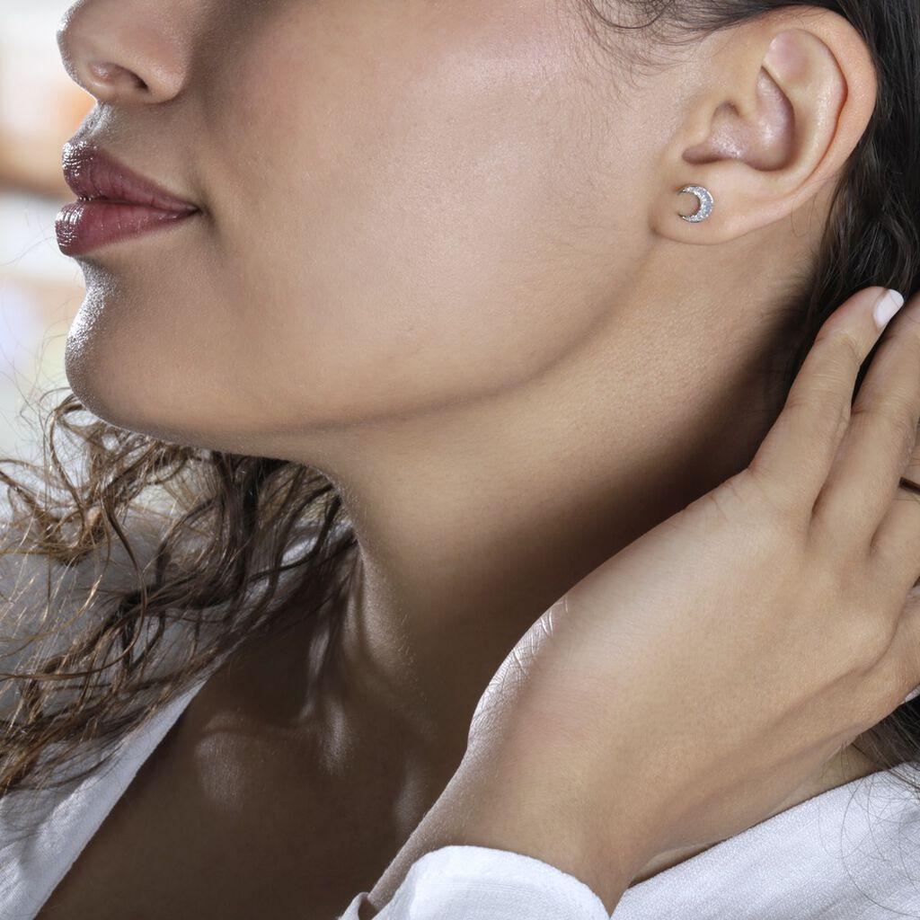 Boucles D'oreilles Pendantes Celma Or Jaune - Boucles d'Oreilles Lune Femme   Histoire d'Or