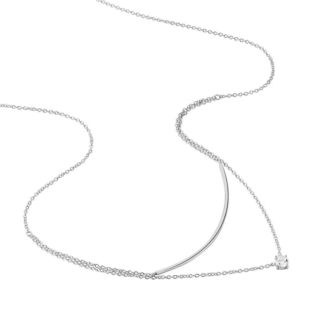 Collier Argent Rhodie Barrette Oxyde - Colliers double et triple chaines Femme | Histoire d'Or