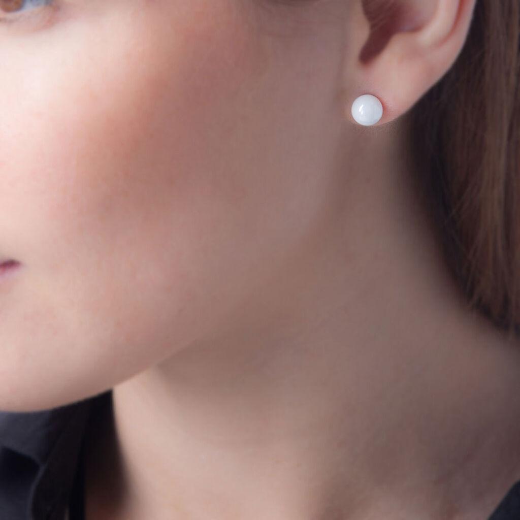 Boucles D'oreilles Puces Orbe Argent Blanc Céramique - Boucles d'oreilles fantaisie Femme   Histoire d'Or