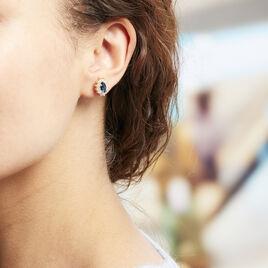 Boucles D'oreilles Puces Lisea Plaque Or Verre Et Oxyde De Zirconium - Boucles d'oreilles fantaisie Femme | Histoire d'Or