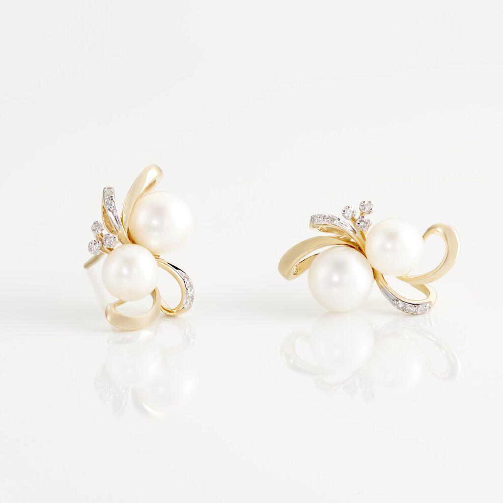 Boucles D'oreilles Puces Wandula Or Jaune Perle De Culture Et Diamant - Clous d'oreilles Femme   Histoire d'Or