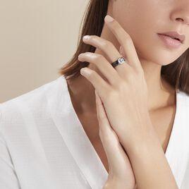 Bague Argent Blanc Oxyde De Zirconium Et Céramique - Bagues avec pierre Femme   Histoire d'Or