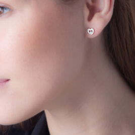 Boucles D'oreilles Puces Tyliana Or Blanc Diamant - Boucles d'Oreilles Coeur Femme   Histoire d'Or