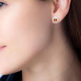 Boucles D'oreilles Puces Cirine Argent Blanc Ambre - Boucles d'oreilles fantaisie Femme   Histoire d'Or