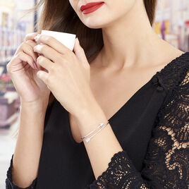 Bracelet Jonc Fabienna Argent Blanc - Bracelets fantaisie Femme   Histoire d'Or