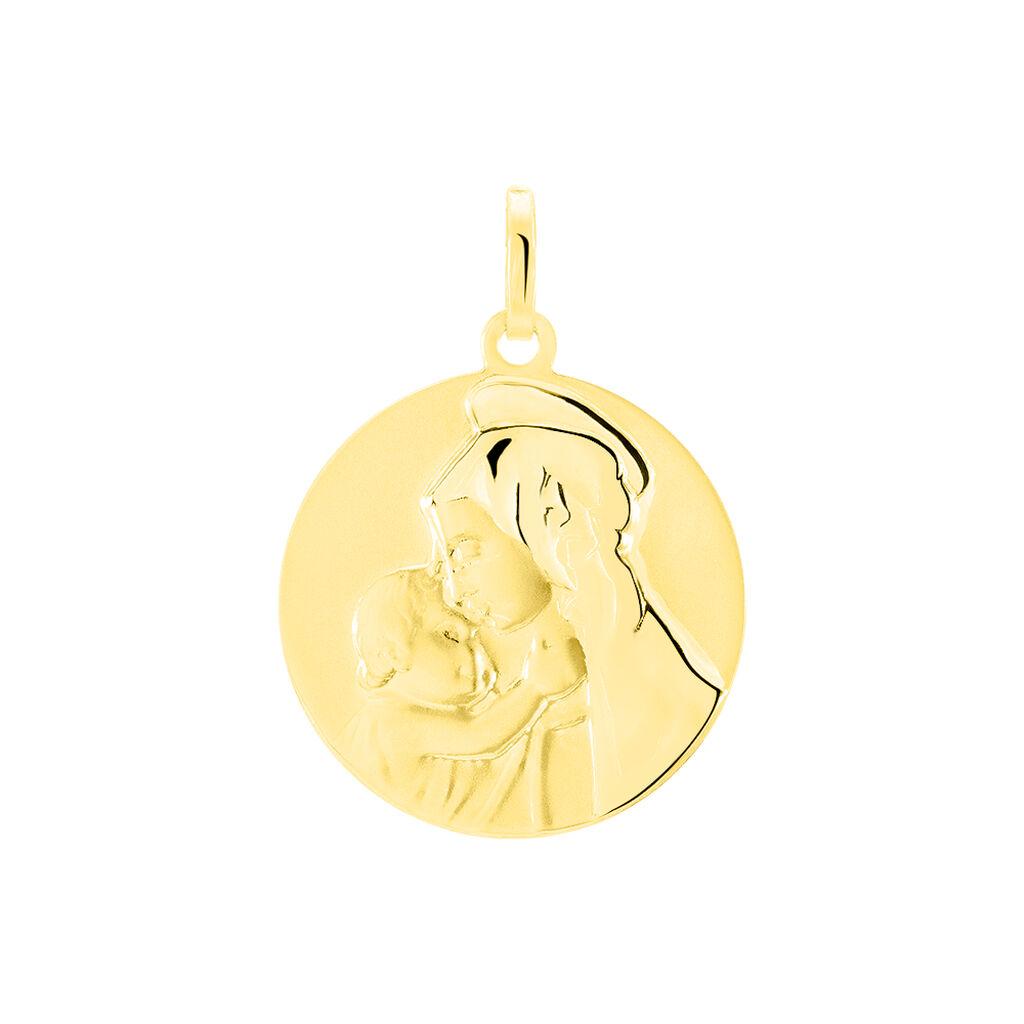 Pendentif Vierge A L'enfant Rond Or Jaune - Bijoux Vierge Unisexe | Histoire d'Or