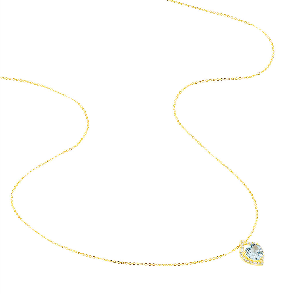 Collier Rosaline Or Jaune Topaze Et Oxyde De Zirconium - Colliers Coeur Femme   Histoire d'Or