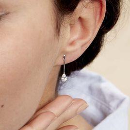 Boucles D'oreilles Pendantes Goutte Or Blanc Oxyde De Zirconium - Boucles d'oreilles pendantes Femme | Histoire d'Or