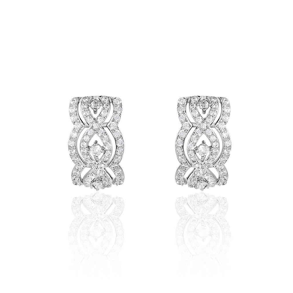 Boucles D'oreilles Puces Or Blanc Oxyde De Zirconium - Boucles d'oreilles pendantes Femme | Histoire d'Or