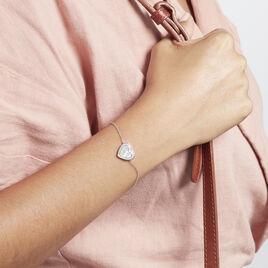 Bracelet Argent Rhodié Sergiane Oxydes De Zirconium - Bracelets Coeur Femme   Histoire d'Or