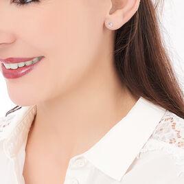 Boucles D'oreilles Puces Loeiza Argent Blanc Oxyde De Zirconium - Boucles d'oreilles fantaisie Femme   Histoire d'Or