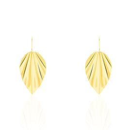 Boucles D'oreilles Pendantes Eclat Froisse Or Jaune - Boucles d'Oreilles Plume Femme   Histoire d'Or