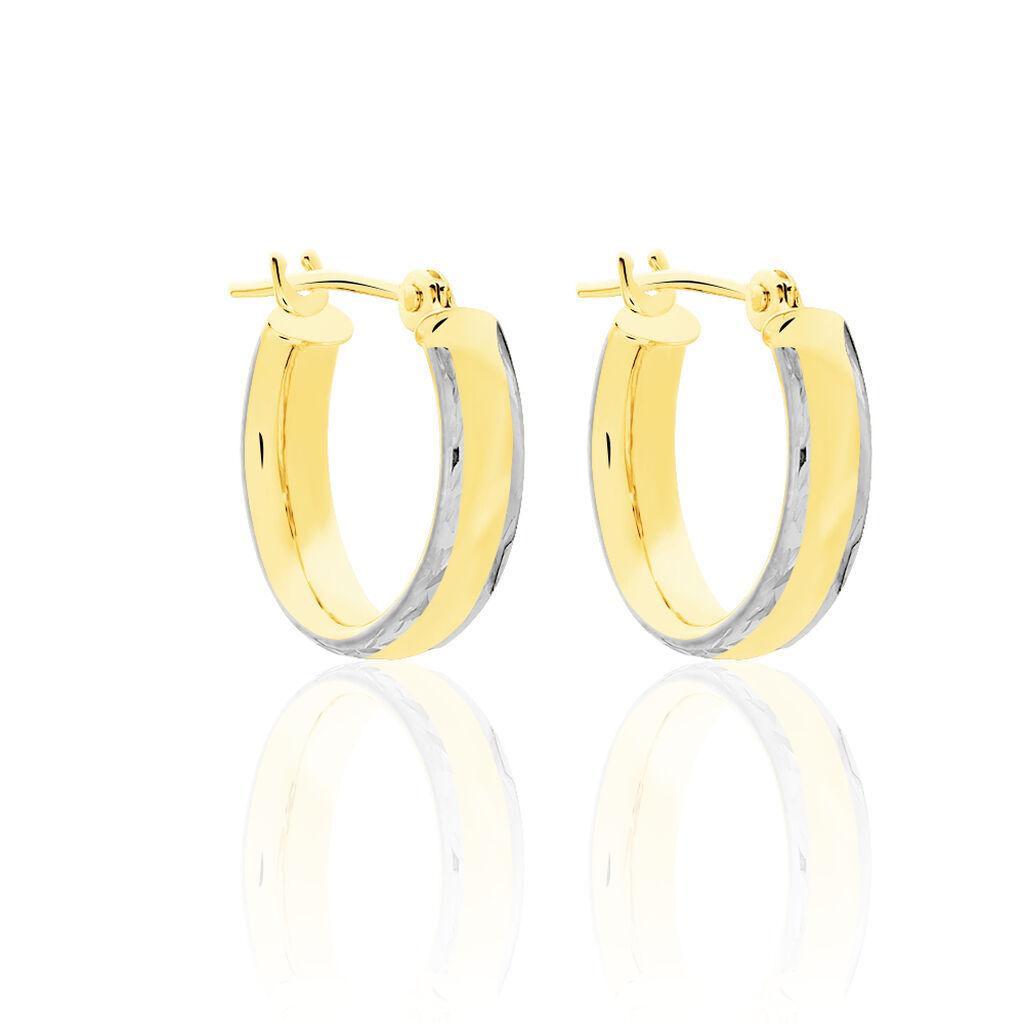 Créoles Abella Or Bicolore - Boucles d'oreilles créoles Femme   Histoire d'Or